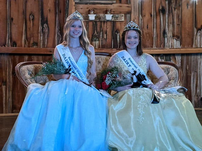 From left, Abby Shuck, 2020-2021 Somerset County Dairy Princess and Kaitlyn Stoltzfus at the Coronation Ceremony held in May, where Stotlzfus was crowed the new princess and will be taking over the duty in June 2021.
