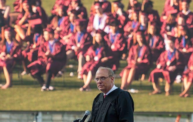 Mayor Joseph M. Petty speaks during the Doherty Memorial High School commencement at Polar Park  June 7, 2021.