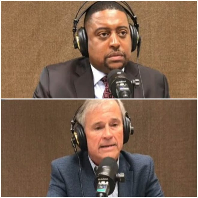 """Former Fayetteville Mayor Tony Chavonne, bottom, appeared Monday on the """"Mayor's Moment,"""" a radio show hosted by current Fayetteville Mayor Mtich Colvin on WIDU radio station, 1600 AM and 99.7 FM."""