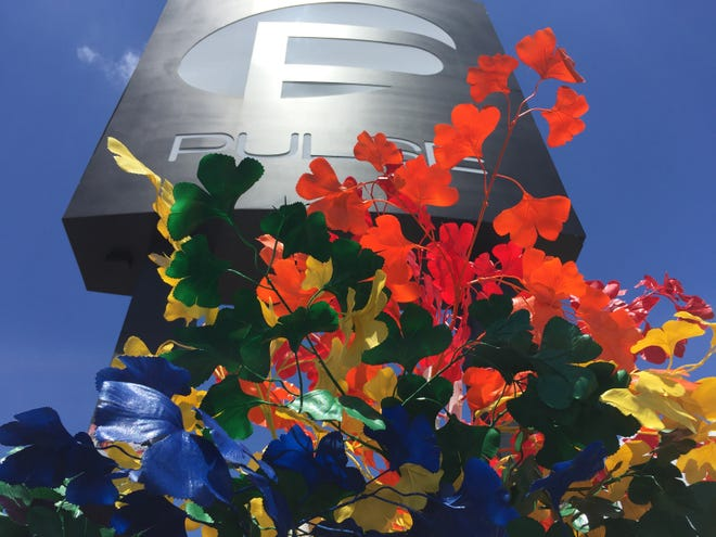 Flowers at the Pulse Nightclub in Orlando a month after the mass shooting in 2016.