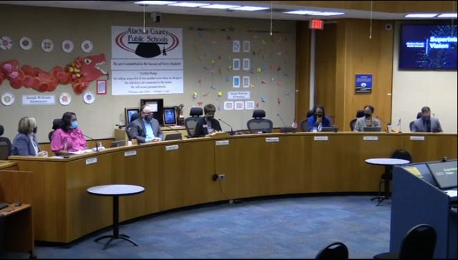 A meeting of the Alachua County School Board.