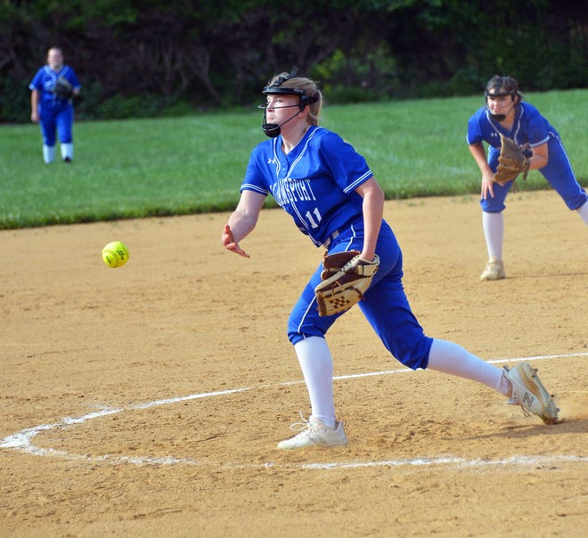 Williamsport's McKenna Weaver releases a pitch during the third inning of her one-hit shutout victory over Seneca Valley in a 2A West Region II playoff game. Weaver struck out 13 in the 17-0 win.