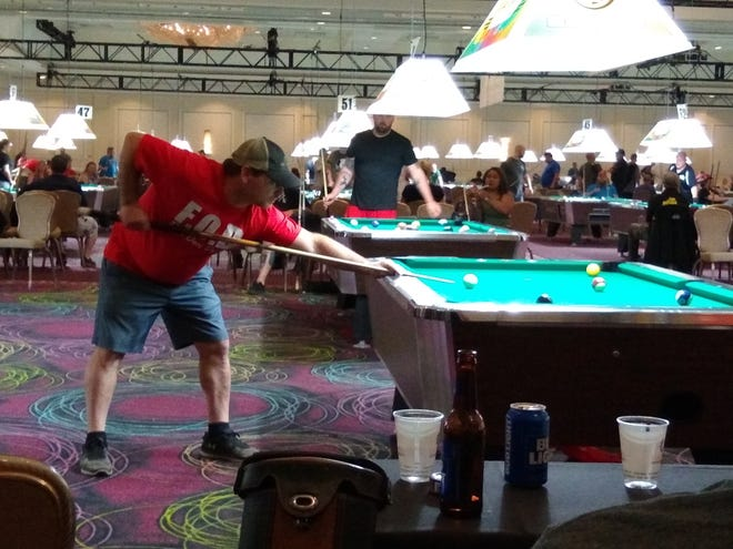 """Jake Lee was part of the Lamplighter Inn team from Port Washington that competed in the 2021 Valley National 8-Ball League Association World Pool Championship. In addition to Lee, Paul """"Tank"""" Triplett, Josh Armstrong, Josh Bower, Matt Burrows, Joe Tressel and Gary Thompson comprised the team."""