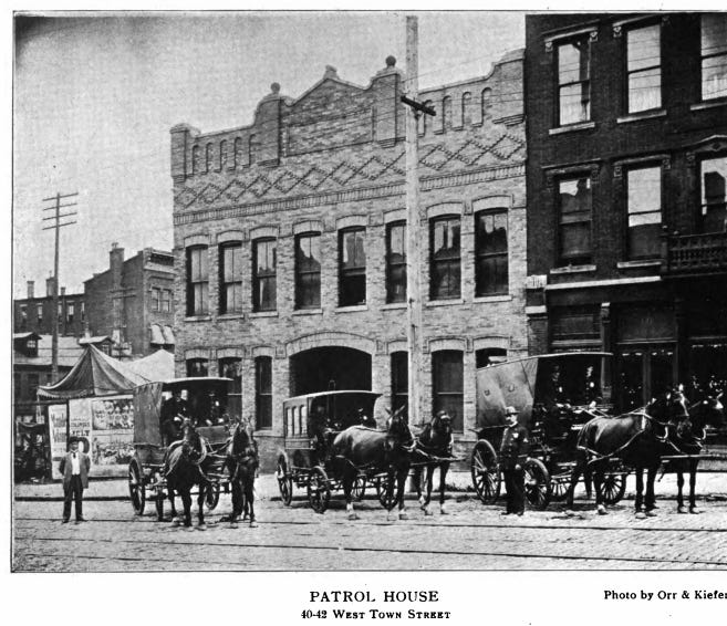 Columbus, which was settled in 1812 and incorporated in 1816, did not have a police force until 1858. The department had 10 full-time officers and 20 special-duty officers working out of a 2-story brick station house, shown in 1908, on West Town Street. The building had 11 cells on the ground floor and a hall for police use on the second floor.