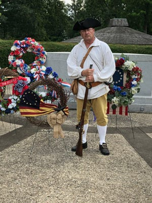 Donald Miller, president the Sons of the American Revolution's Benjamin Franklin Chapter, poses in period dress at Fort Laurens in Bolivar.