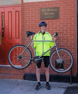 Cyclist Chuck Monts, 61, recently rode through Victorville and Barstow on his eastbound cross-country fundraising trip for The Bowery Mission in New York City.