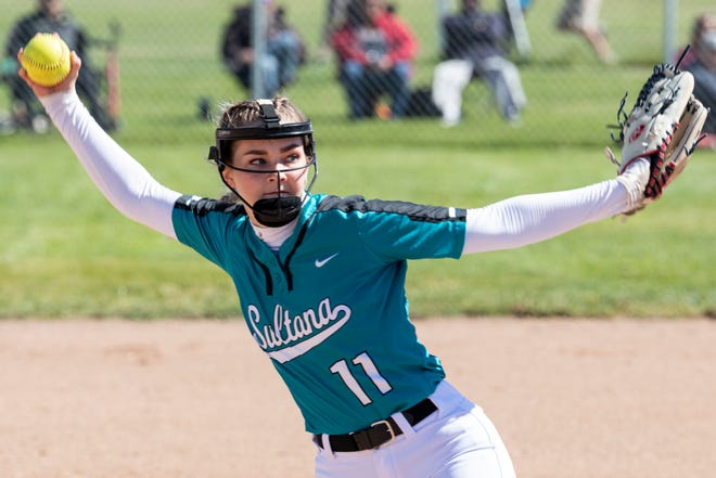 Sultana's Zada Day-Adams delivers a pitch against Louisville on June 7, 2021.