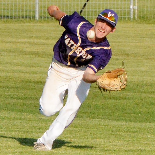 Watertown Post 17 center fielder Dawson Schmidt tracks down a sinking liner during the opening game of an American Legion Baseball doubleheader against Renner Post 307 No. 2 on Monday at Watertown Stadium.