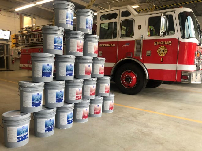 The Merrimac Fire Department received a donation of 100 gallons of paint from Sherwin Williams to repaint their apparatus bays.