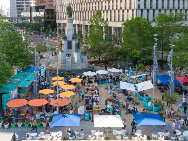 The Beach at Campus Martius Park has reopened.