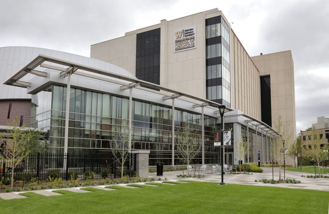 This Sept. 12, 2014 photo shows the Western Michigan University Homer Stryker M.D. School of Medicine in Kalamazoo, Mich.