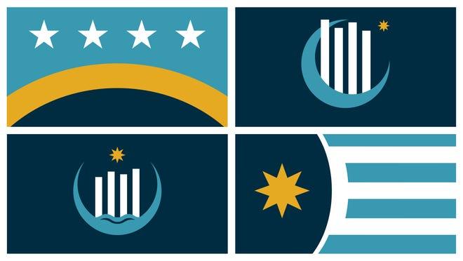 The four finalist designs for Evansville's next city flag.