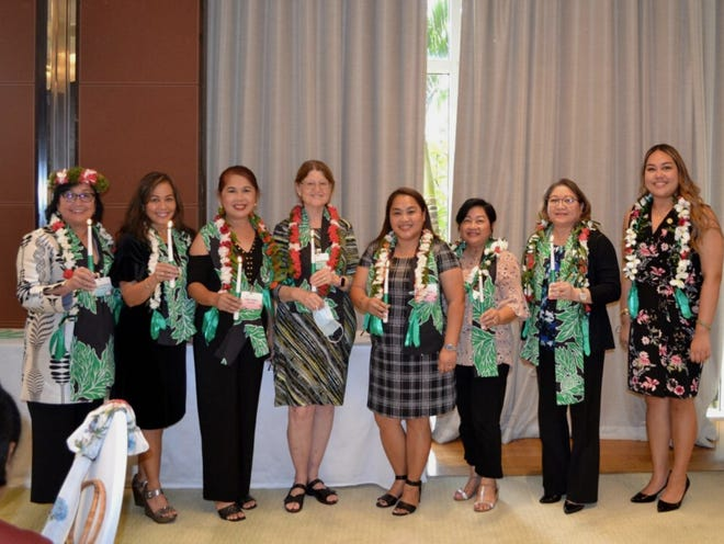 Guam Women's Club held their 2021-2022 incoming board installation ceremony at the Hyatt Hotel on May 28. The installation was performed by Sen. Amanda Shelton. From left are Jillette Leon Guerrero, club president; Caroline H. Sablan, vice president; Loisa Cabuhat, treasurer; Mary Louise Wheeler, recording secretary; Angie Gibbons, corresponding secretary; Divina Evaristo, member at large; Monica Pido, member at large; and Shelton.