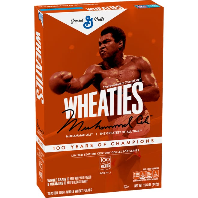 """""""100 years of Champions"""" a commemorative box series celebrating 100 years of General Mill's Wheaties cereal.  The first box in the series is of boxing legend and Louisville native Muhammad Ali available in grocery stores June 8, 2021"""