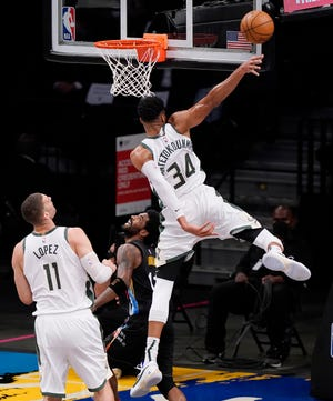 Giannis Antetokounmpo and the Milwaukee Bucks could knock the Brooklyn Nets out of the playoffs on Thursday night at Fiserv Forum.