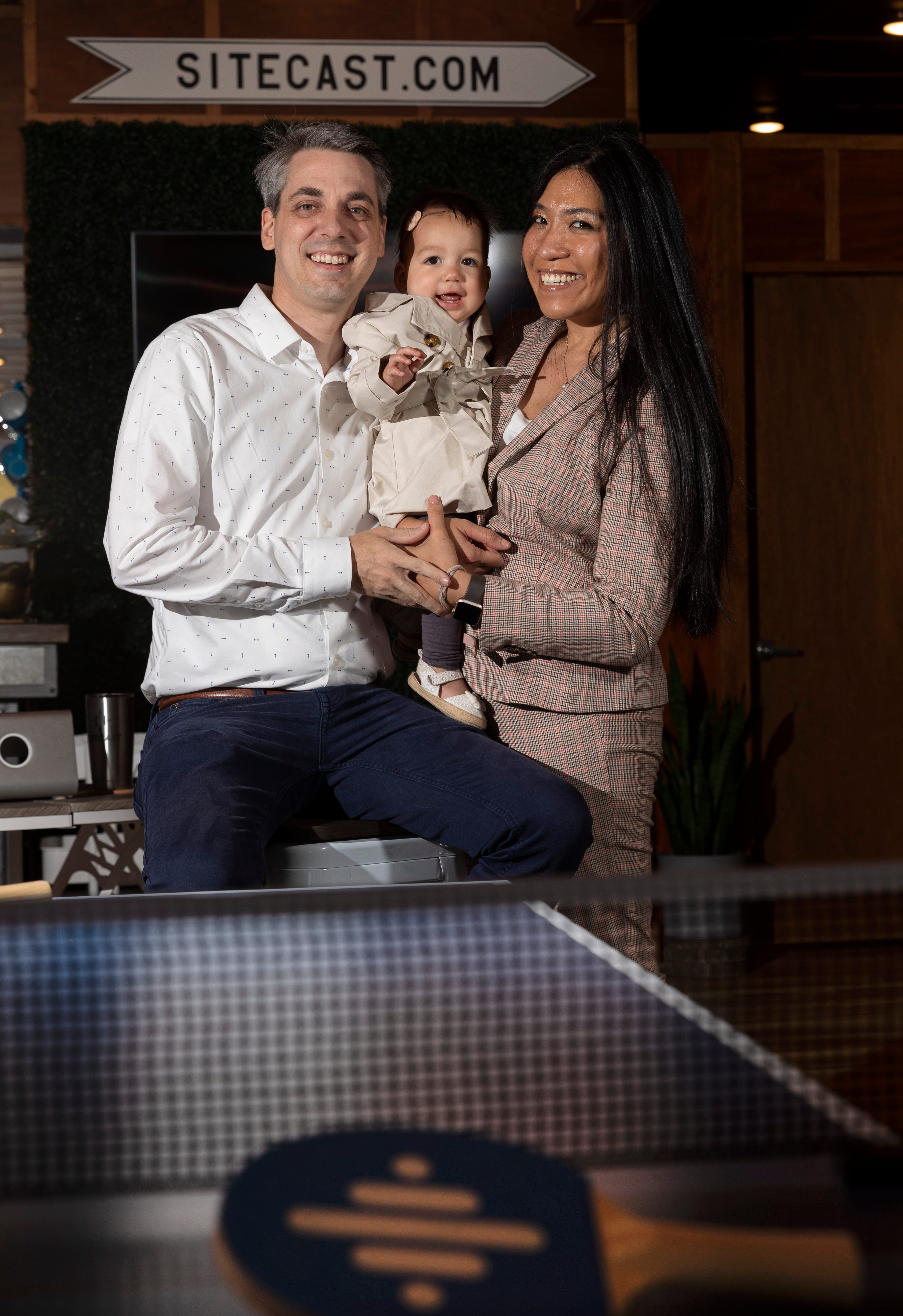 Brad and Rubie Gauthier are shown with their 10-month-old daughter in Minocqua.  They are the owners of Sitecast, a national website design firm. They lived in Portland,  but anxious about coronavirus and social unrest, left the city and moved to the Northwoods.