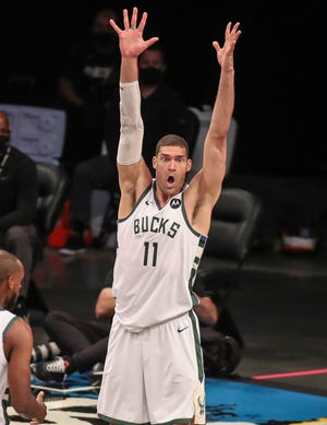 Bucks center Brook Lopez has been with the Milwaukee Bucks for the past three seasons. He spent the majority of his career with the New Jersey/Brooklyn Nets, where he became the franchise's all-time leader in points and blocks.