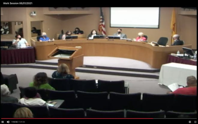 """The five Las Cruces Public Schools Board of Education members gathered all in-person for the first time since March 2020 on June 1, 2021. Former board member Terrie Dallman, who resigned on June 3, alleged in an emailed resignation letter that """"gross displays of harassment"""" occurred during this meeting and the previous two closed meetings."""
