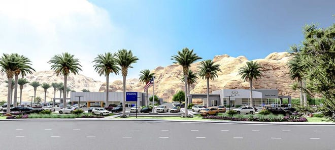 Rendering of the planned Volvo and Infiniti dealerships to be built by local car dealer Dan Jessup on Highway 111 in Rancho Mirage.