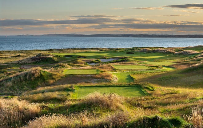 A tee box points golfer directly toward the Firth of Forth in Scotland at Dumbarnie Golf Links, a course designed by former Ryder Cup golfer and La Quinta resident Clive Clark.