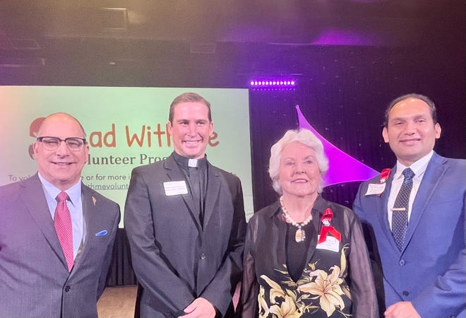 Patrick Evans, Pastor Derek Fossey, Roberta Klein and Dr. Edwin Gomez attend the Read With Me Volunteer Programs' annual Volunteer of the Year Awards on May 19, 2021, at Hope Lutheran Church in Palm Desert.