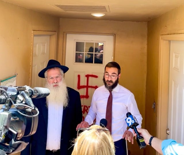 Rabbi Rami Bigelman and Rabbi Yehuda Ceitlin speak with the media at Chabad on River in Tucson on June 8, 2021.