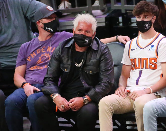 Celebrity chef Guy Fieri watches the NBA second round playoff series between the Phoenix Suns and the Denver Nuggets in Phoenix on June 7, 2021.