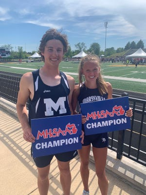 Marysville's Evan Woodard and Reese Powers each won individual Division 2 state titles in track and field on Saturday, June 5, 2021, at Zeeland Public Schools.