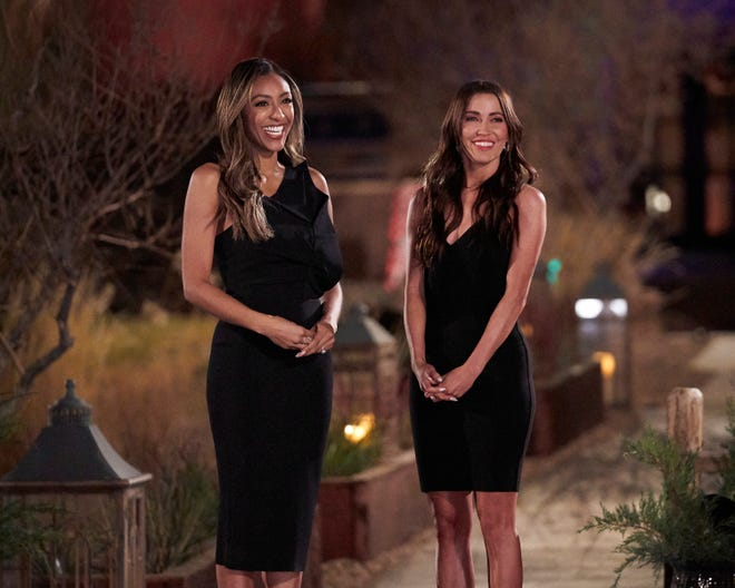 """Former """"Bachelorettes"""" Tayshia Adams, left, and Kaitlyn Bristowe are taking the reins from host Chris Harrison this season."""