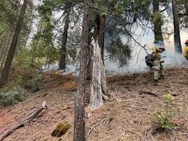 Firefighters work a fire near Castle Crags in northern Shasta County on Monday.