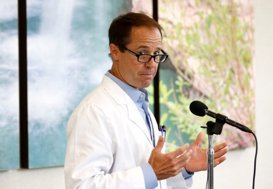 Dr. Robin Trotman spoke about the growing hospitalizations of COVID-19 to younger patients and the importance of vaccination at a press conference in Cox South on Tuesday, June 8, 2021.