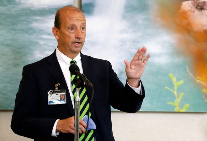 CoxHealth CEO Steve Edwards answers questions at a press conference at Cox South on Tuesday, June 8, 2021.
