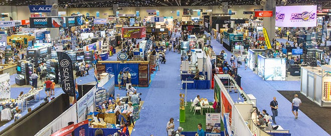 The ICAST floor early one day at the Orange Convention Center in 2019 shows the fishing tackle business was ready for action.