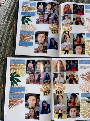 This year's Ventura High School yearbook had a superlatives page covered by adhesives. When students peeled them off, they saw the actual superlative titles including 'most likely to get COVID twice' and 'most likely to be cancelled.'