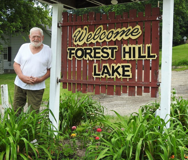 Lester Stewart and his wife, LaVerne, have owned Forest Hill Lake and Campground for 42 years. Their children are running it now, but Lester still helps. He enjoys seeing the people who come year after year and the beautiful, green rolling hills.