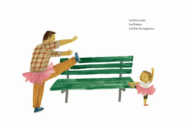 """An illustration from Duchess Meghan of Sussex's children's book, """"The Bench,"""" by artist Christian Robinson."""