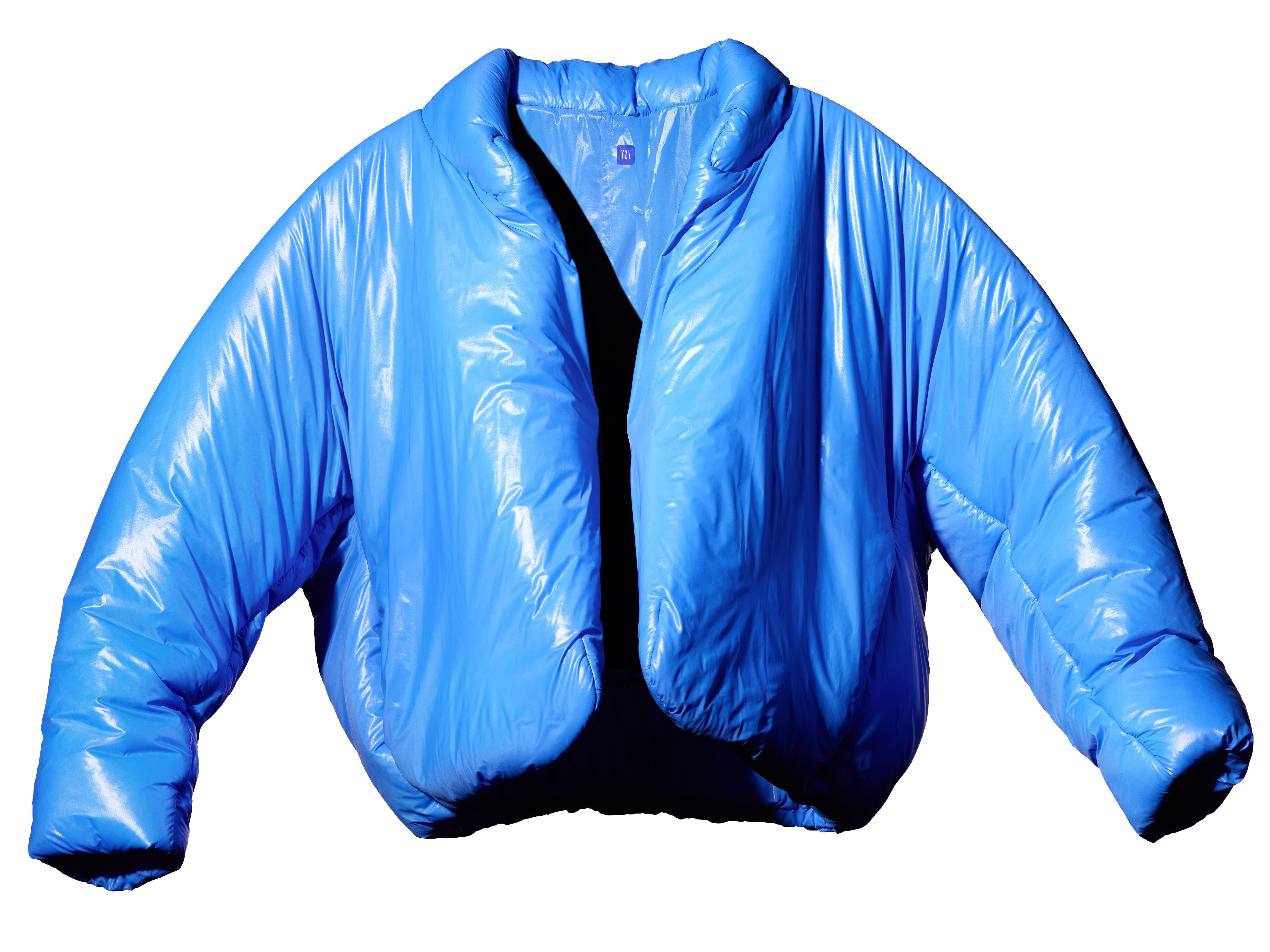 Kanye West s first piece from Yeezy Gap collection is a $200 blue  Round Jacket