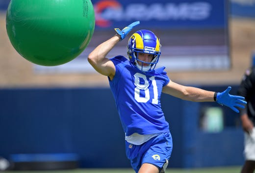 Los Angeles Rams wide receiver Ben Showronek participates in drills using giant exercise balls during minicamp held at the team practice facility at Cal State Lutheran on June 8.