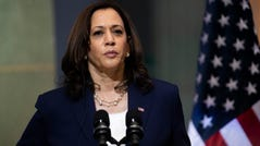 Vice President Kamala Harris gives a joint statement with Guatemalan president Alejandro Giammattei after their binational meeting held at the Palace of Culture in Guatemala, City on June 7, 2021.