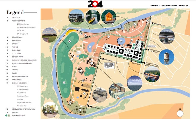 City of Bastrop documents show the informational land plan from Line 204 Studios for a proposed 546-acre film development in Bastrop. Among the features included in the informational land plan are sound stages, a concert venue, backlot movie sets and office space.