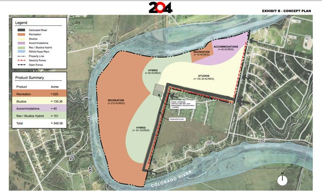 City of Bastrop documents show a proposed concept plan from Line 204 Studios for a proposed 546-acre film development in Bastrop. According to the concept plan from Line 204 Studios, about 220 acres of the proposed project will be used for recreation space, while about 135 acres will be used for studio space.