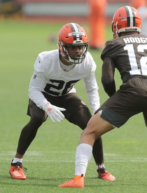 Cleveland Browns' Greedy Williams took the field for OTA workouts on Wednesday, June 9, 2021 in Berea, Ohio.  [Phil Masturzo/ Beacon Journal]