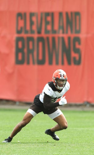 Cleveland Browns safety Grant Delpit  on the field for the first time since his injury last August for OTA workouts on Wednesday, June 9, 2021 in Berea, Ohio.  [Phil Masturzo/ Beacon Journal]