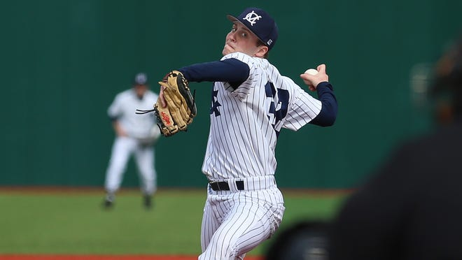 Marietta pitcher Gino Sabatine in action against Capital earlier this season.