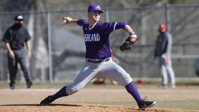 Ashland's Perry Bewley delivers a pitch during a game this past season.