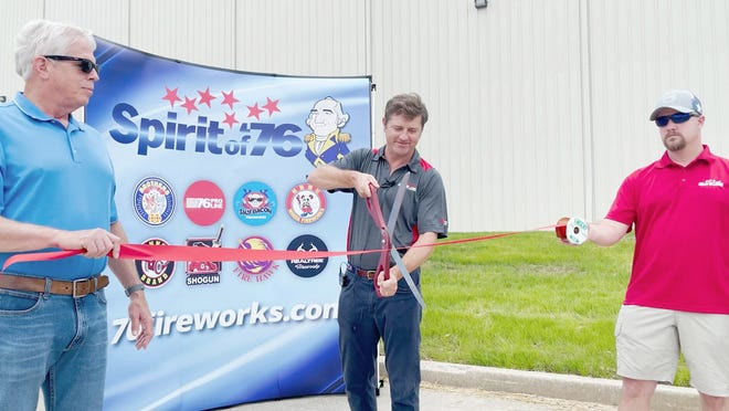 Spirit of '76 held a ribbon cutting ceremony to commemorate  their recent expansion at the distribution center in Boonville. On hand during the ribbon cutting were (left to right)  Jim Fischer, Septagon Construction, John Bechtold, Owner and President of Spirit of '76, and Derek Lombard, Spirit of '76 Warehouse Manager.