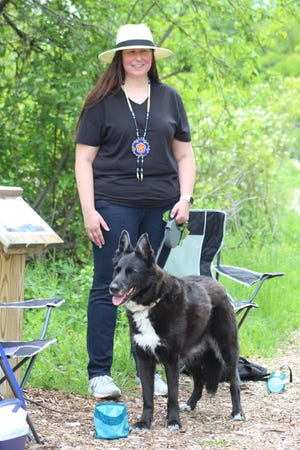 Anishinaabe-Ojibwe author Stacie Sheldon was the featured author at the Children's Trail event on June 5. This event gave people a chance to read Sheldon's book about her dog Nimkii, who accompanied Sheldon to the trail.