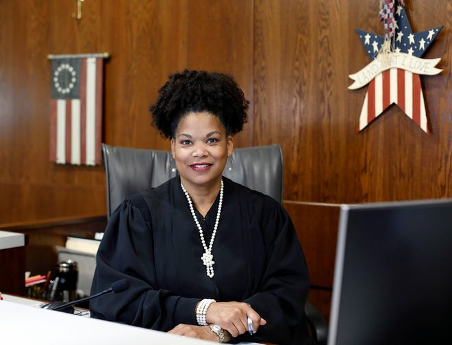 Judge Kim A. Browne poses for a photo in her courtroom at Domestic Relations & Juvenile Court in downtown Columbus on June 9, 2021.