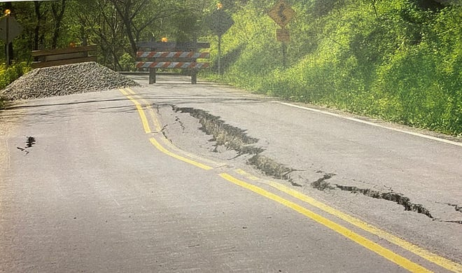 A portion of Eighth Street Road in northern Guernsey County is closed due to a large slip. Repairs to fix and resurface the roadway are estimated to cost the county $110,000. Engineer Paul Sherry reported the roadway continues to settle and requested an emergency resolution to begin repairs as soon as possible.