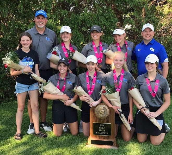 Members of the Van Meter girls golf team pose for a photo after claiming the Class 2A state title in Marshalltown. Front row, Jenna Linde (Mgr), Regan Bernhardt (Fr), Dani Jones (Fr), Emma Bruins (Fr), Kaylie Golwitzer (Jr). Back row, Mike Linde (Head Coach), Kylie Carey (Sr), London Wille (Sr), Shae Bernhardt (Jr), Addison Boughton (Assistant Coach).